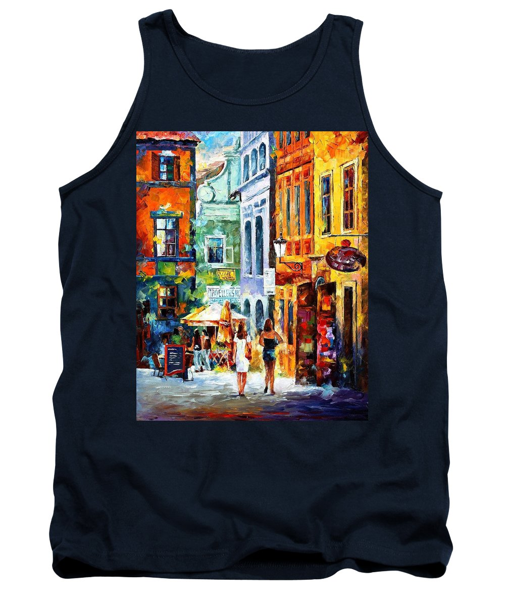 Art Gallery Tank Top featuring the painting Morning Gossip - Palette Knife Oil Painting On Canvas By Leonid Afremov by Leonid Afremov