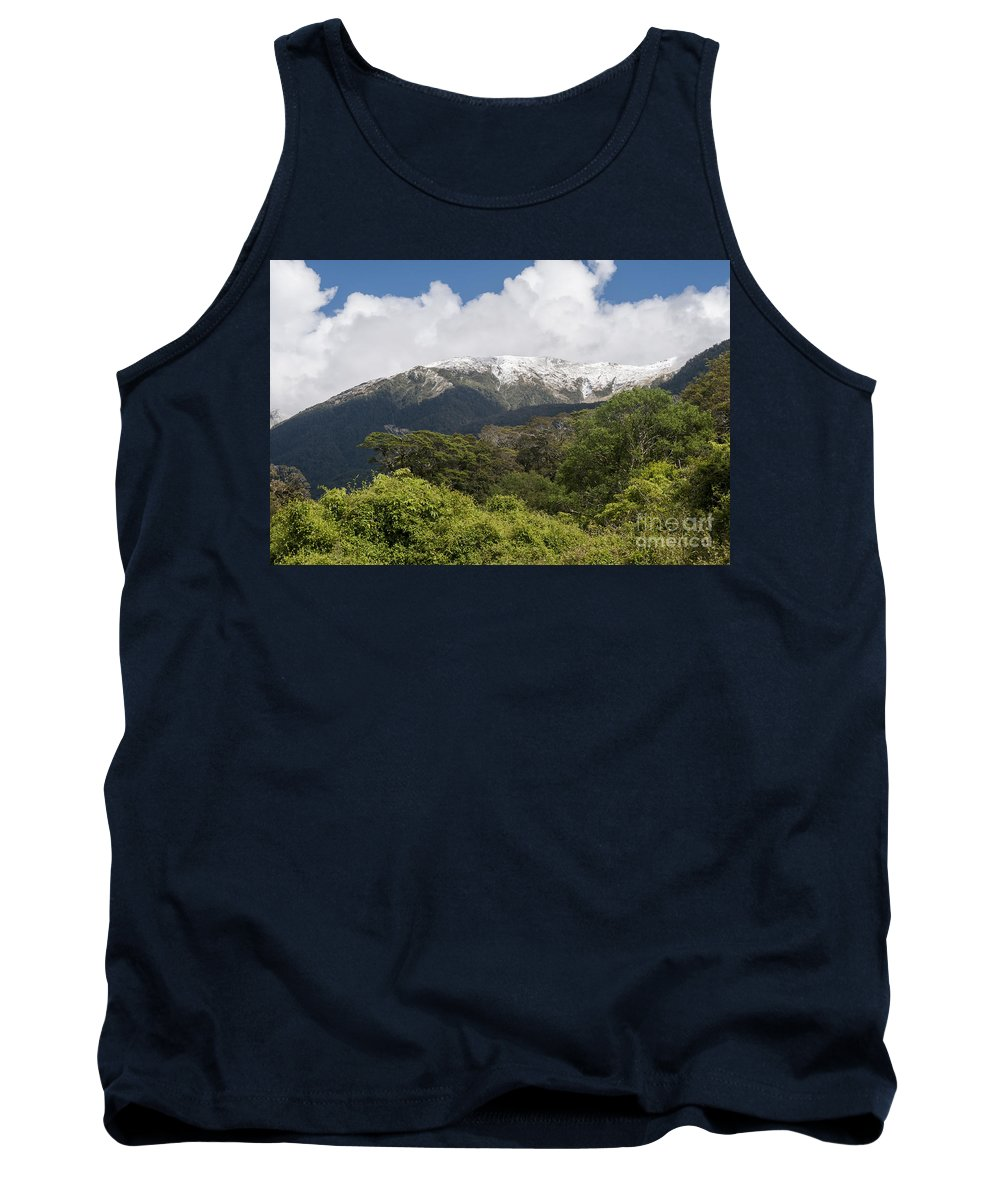 Mt. Aspiring National Park New Zealand Tree Trees Mountain Mountains Snow Landscape Landscapes Tank Top featuring the photograph Mt. Aspiring National Park Mountains by Bob Phillips