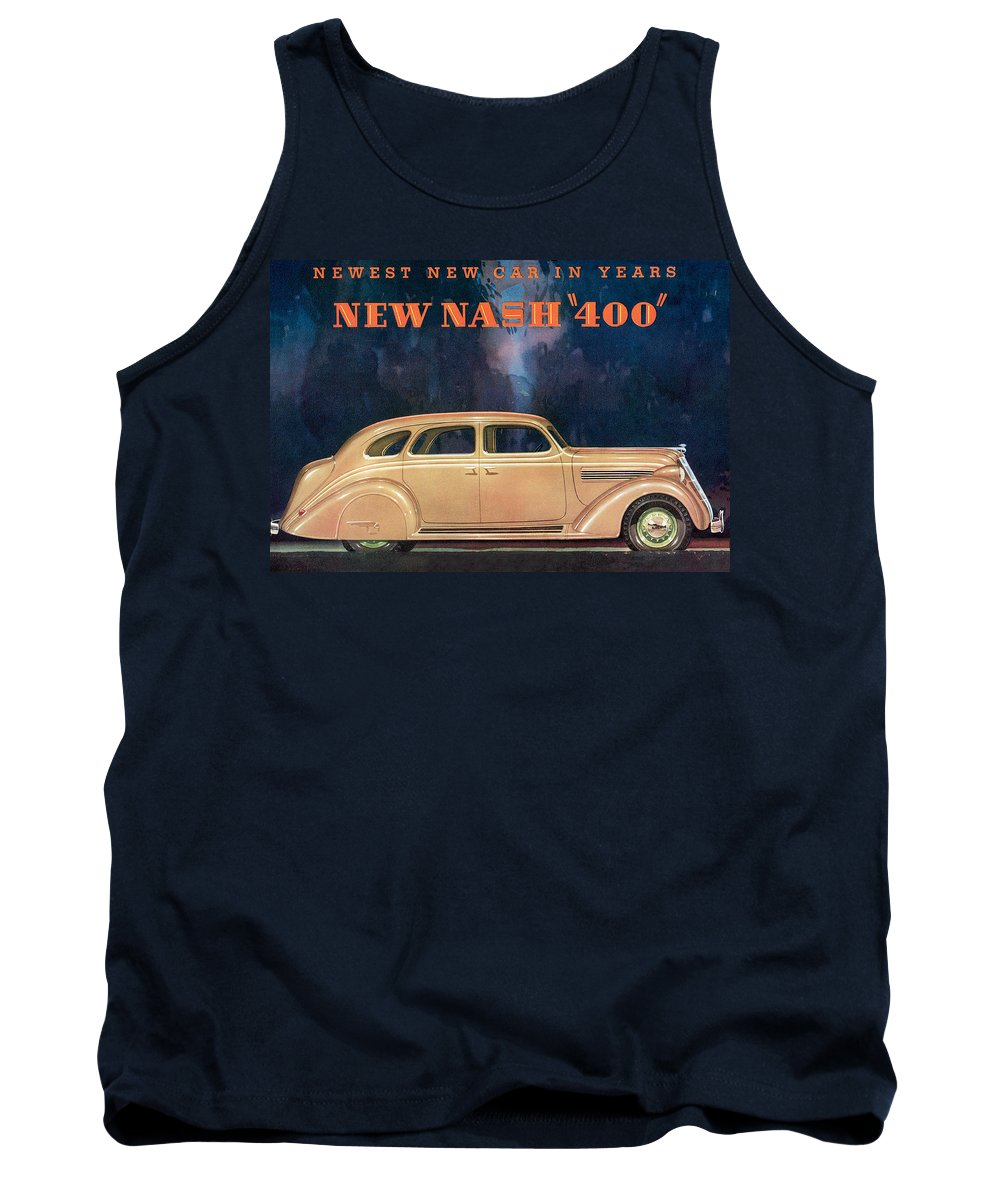 Advertisement Tank Top featuring the drawing Nash 400 - Vintage Car Poster by World Art Prints And Designs