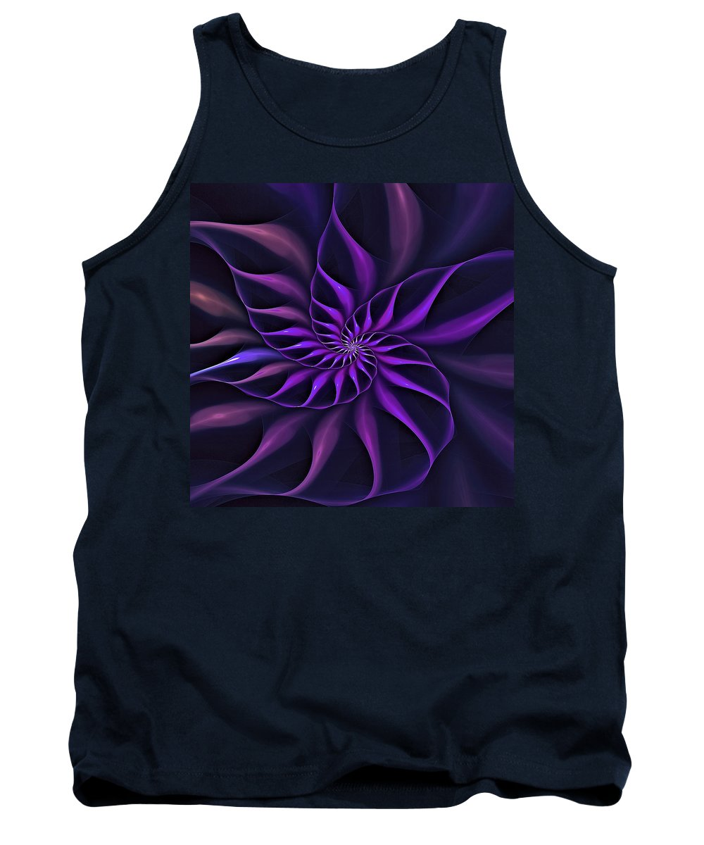 Flower Tank Top featuring the digital art Nautilus Fractalus Moongarden by Doug Morgan