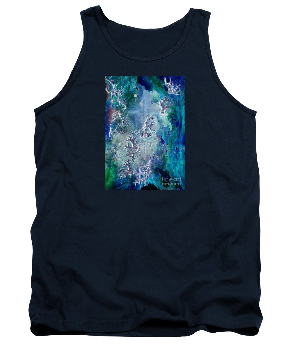 Abstract Tank Top featuring the painting Neuronal Lunar Essence by Cristina Handrabur