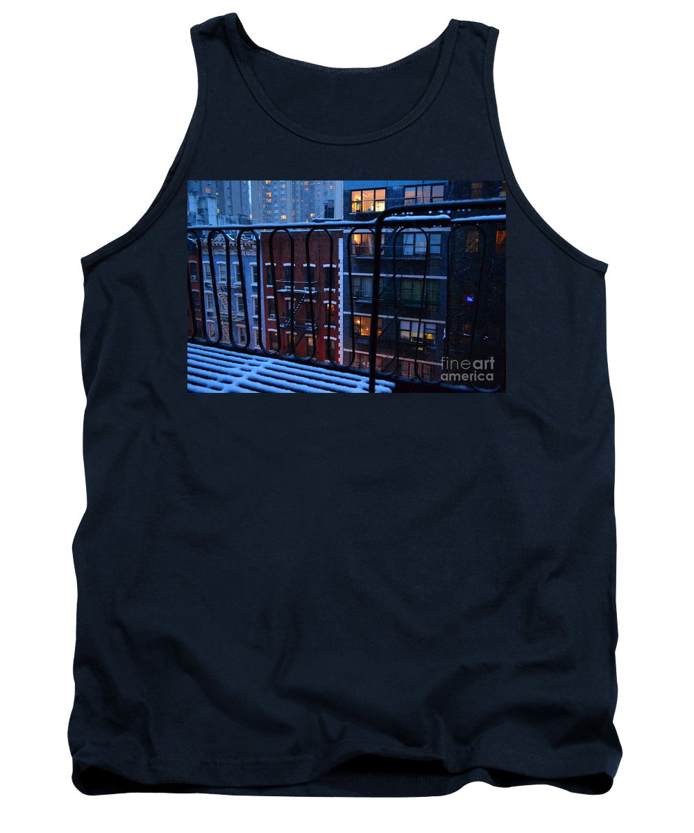 New York Tank Top featuring the photograph New York Window - Fire Escape In Winter by Miriam Danar