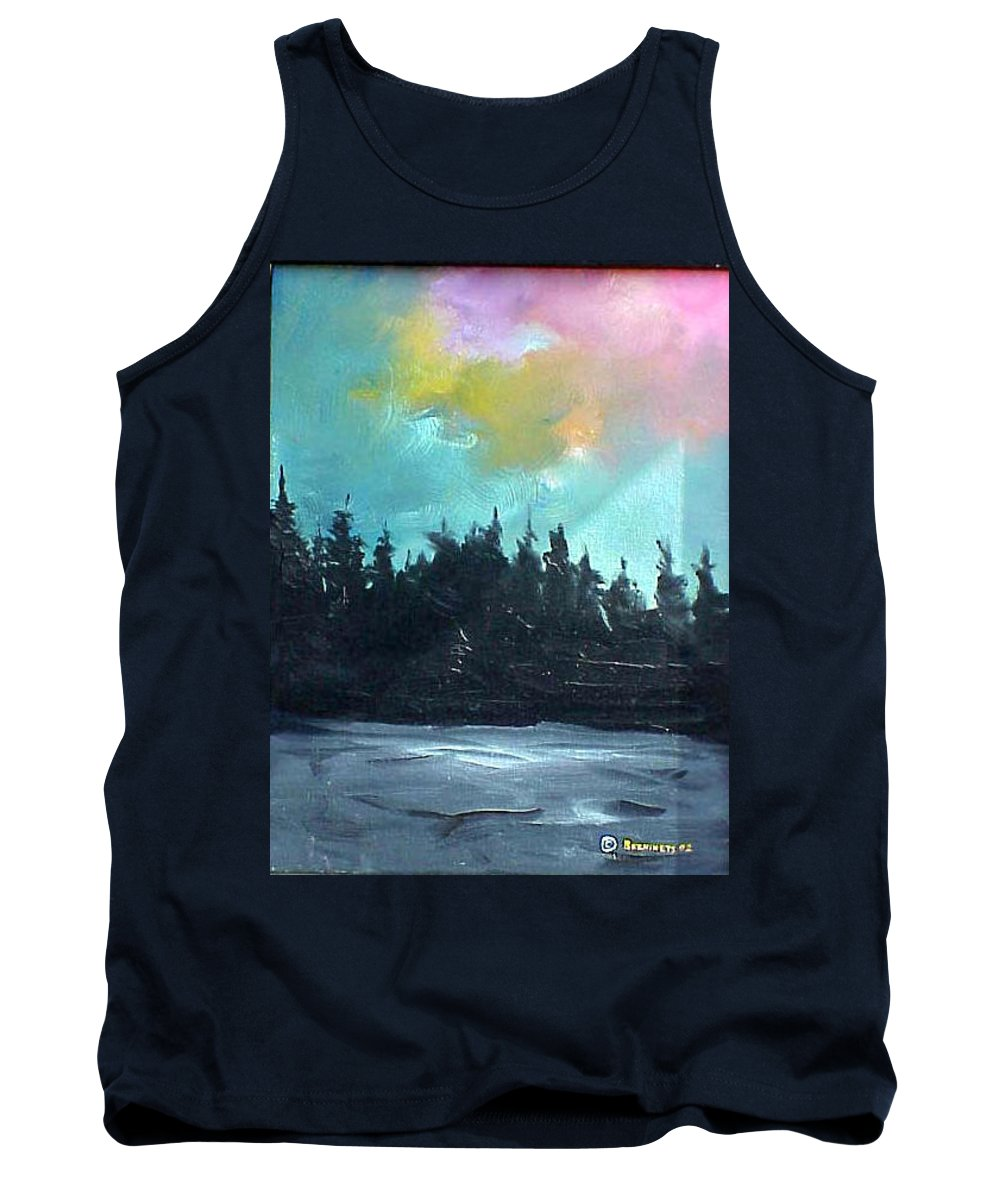 Landscape Tank Top featuring the painting Night river by Sergey Bezhinets