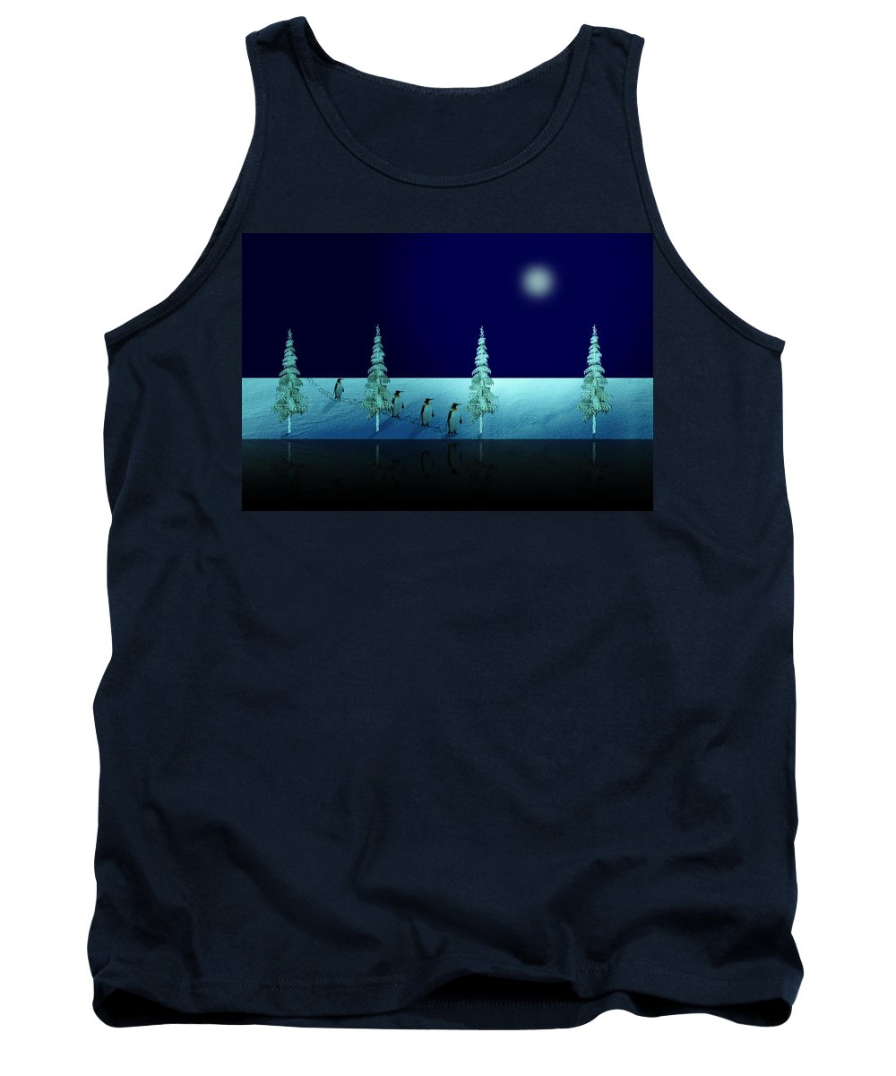 Penguin Tank Top featuring the digital art Night Walk Of The Penguins 2.5 by David Dehner