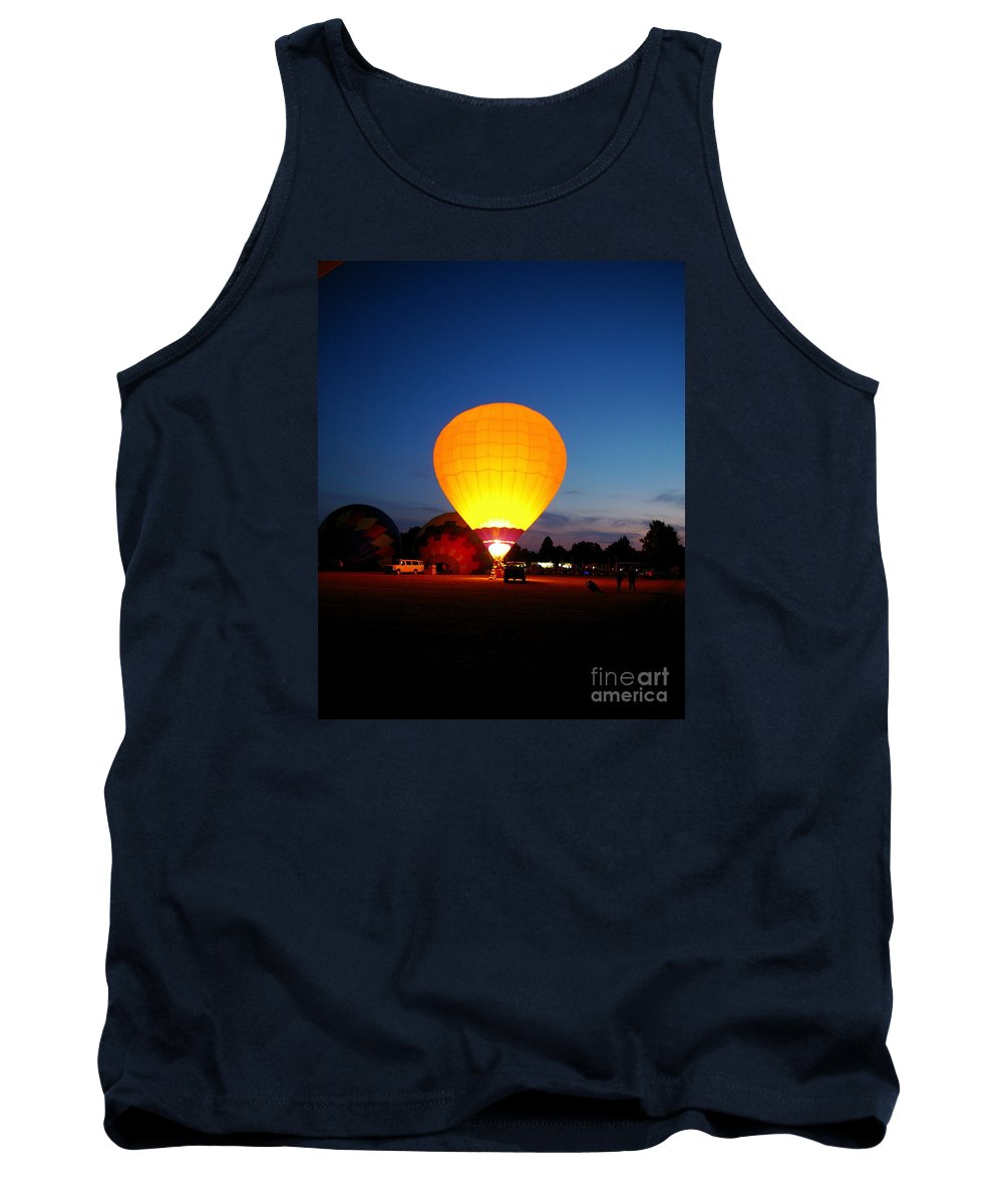 Yellow Hot Air Balloon Tank Top featuring the photograph Night's Sunshine by Nancy Cupp