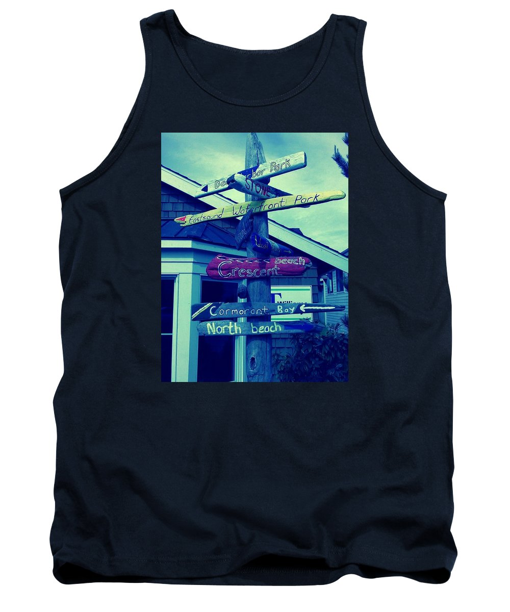 Signs Tank Top featuring the photograph North Beach by Barbara Christensen