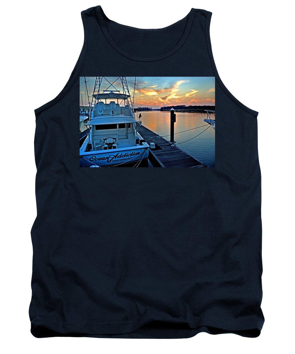 Alabama Tank Top featuring the digital art Ocean Addiction Sunset by Michael Thomas