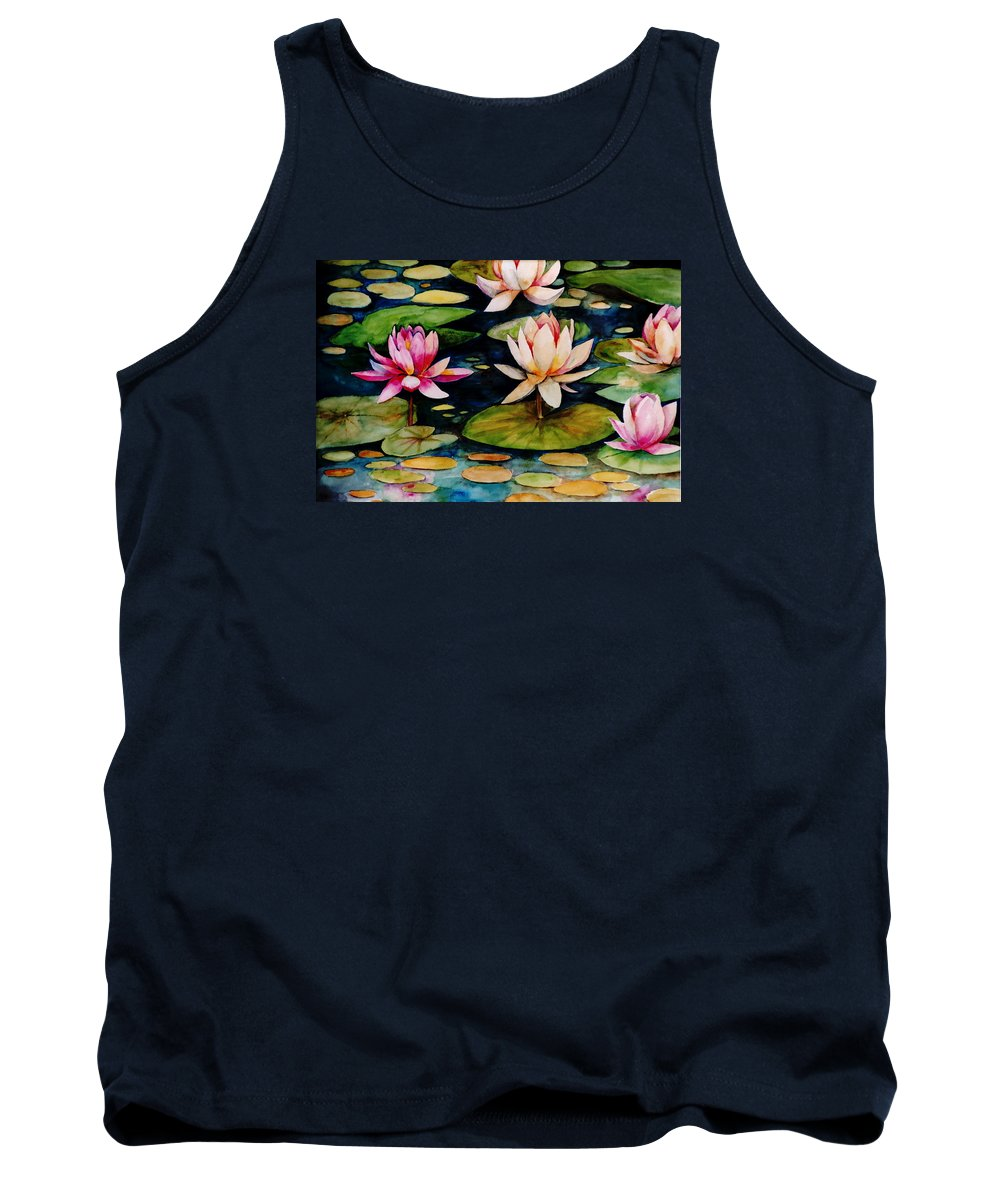 Lily Tank Top featuring the painting On Lily Pond by Jun Jamosmos