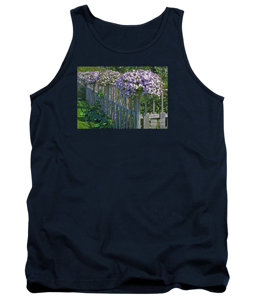 Petunia Tank Top featuring the photograph On The Fence by Ann Horn
