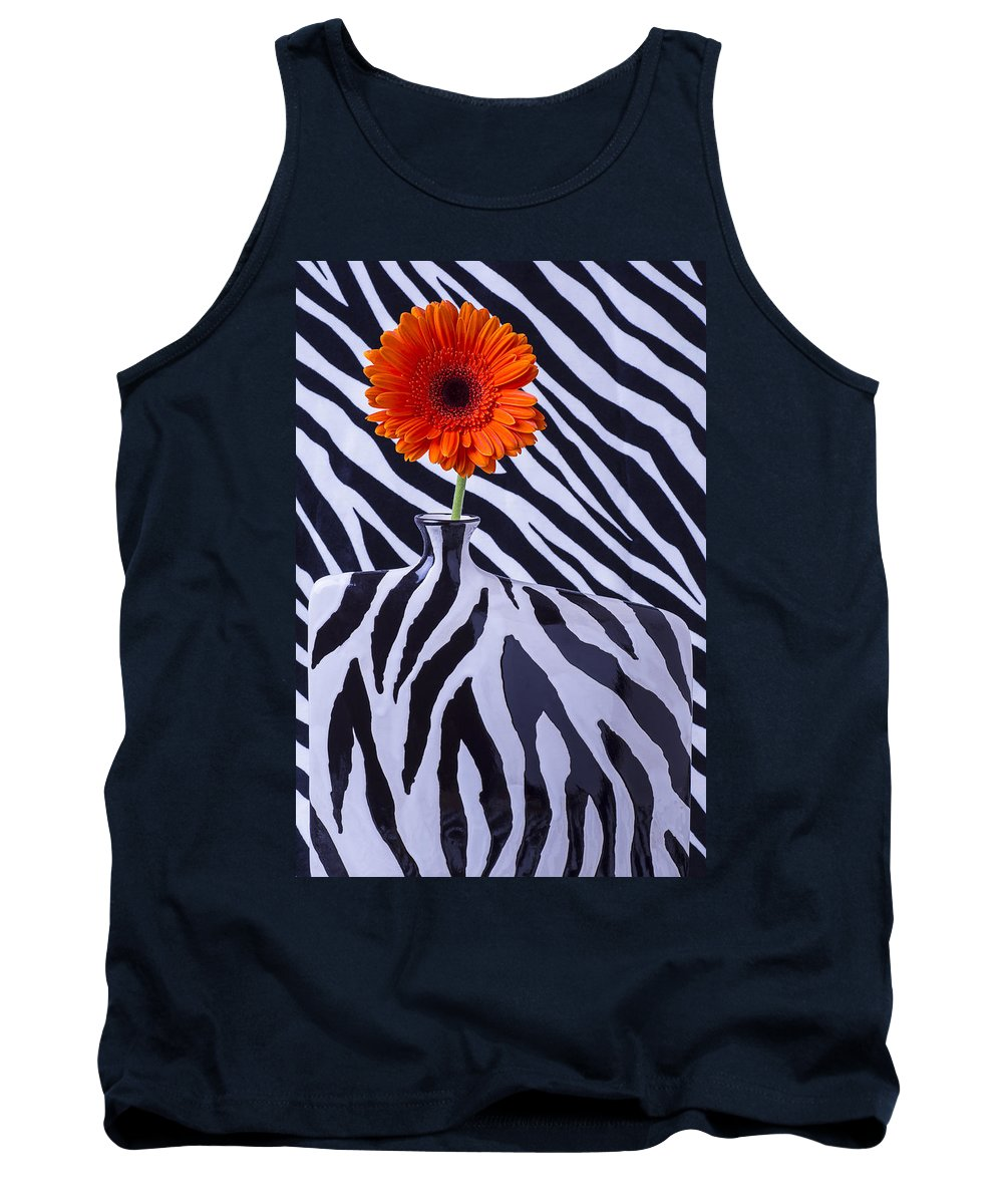 Orange Daisy Tank Top featuring the photograph Orange Daisy In Zebra Vase by Garry Gay