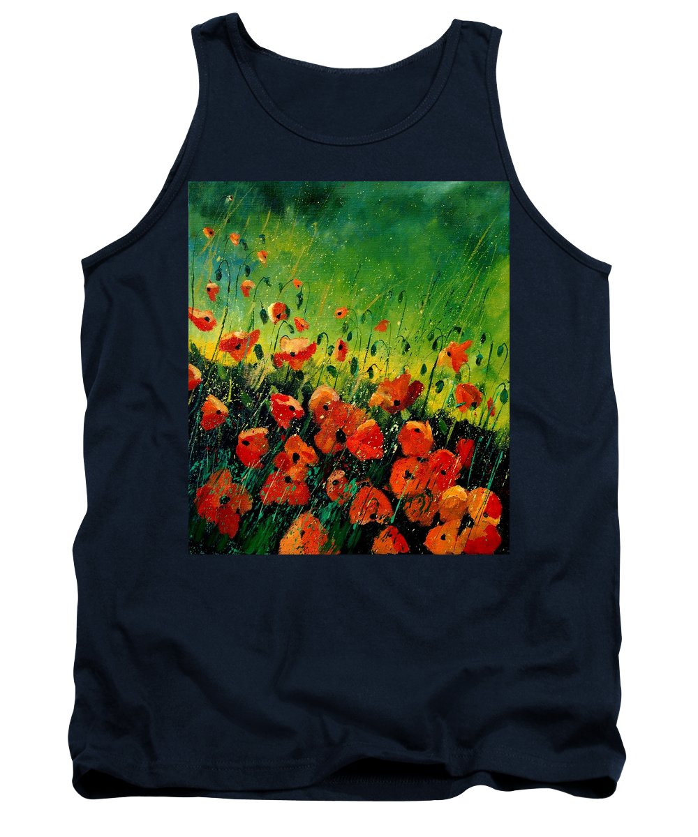 Poppies Tank Top featuring the painting Orange Poppies by Pol Ledent