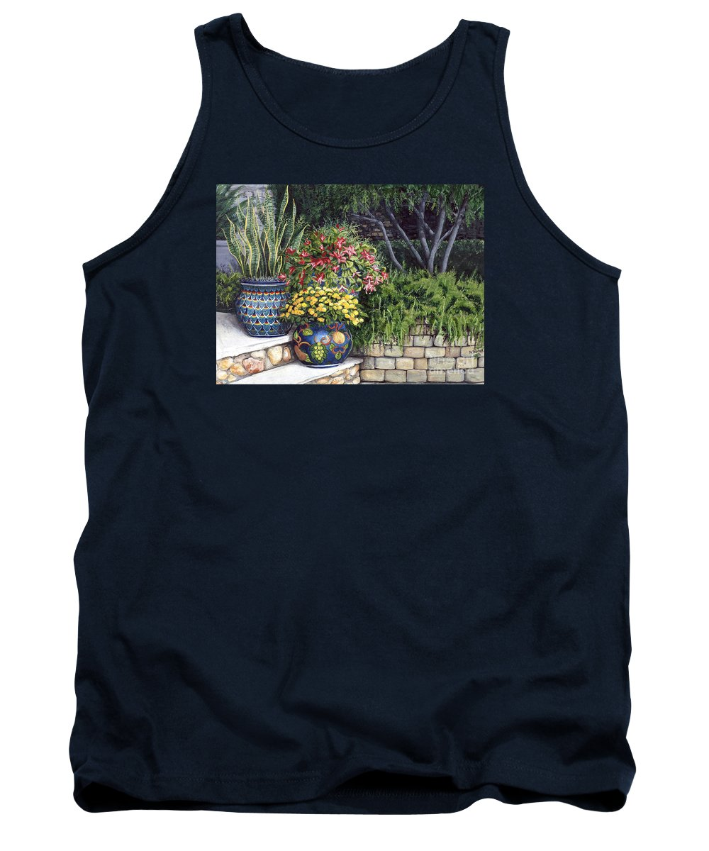 Floral Tank Top featuring the painting Painted Pots by Mary Palmer