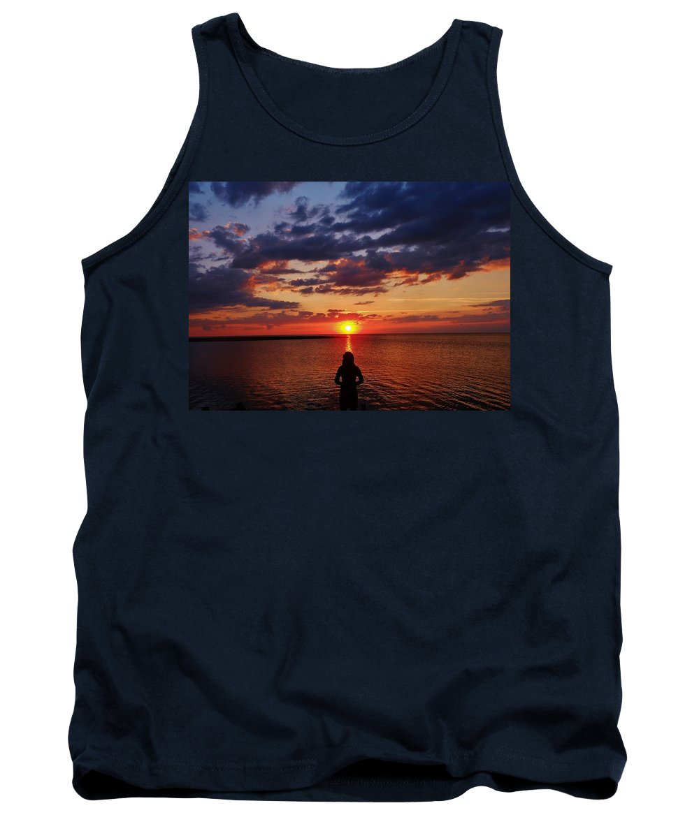 Mark Lemmon Cape Hatteras Nc The Outer Banks Photographer Subjects From Sunrise Tank Top featuring the photograph Pamlico Sound Hatteras Island Sunset 3 5/10 by Mark Lemmon