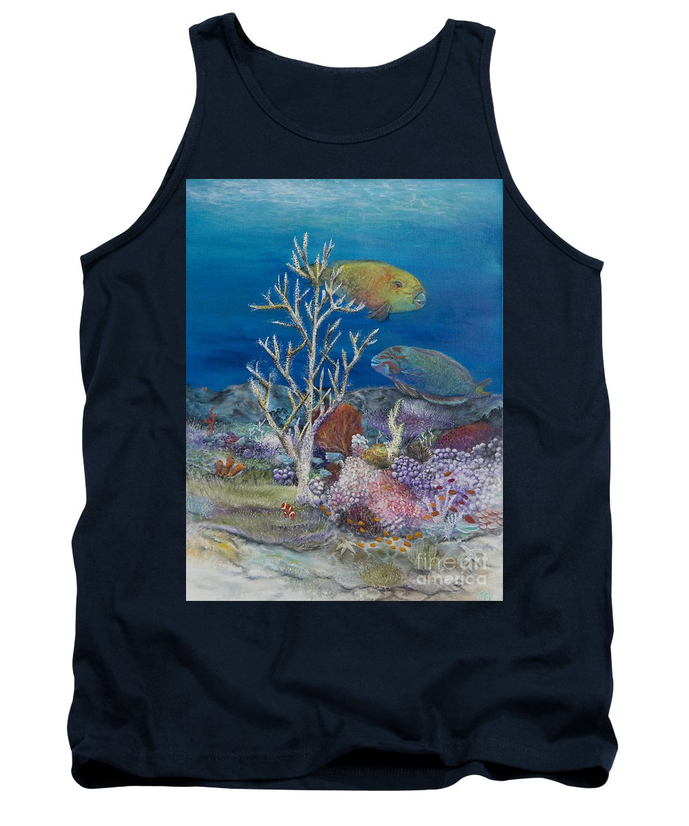 Parrot Fish Tank Top featuring the painting Parrots Of The Reef by John Garland Tyson