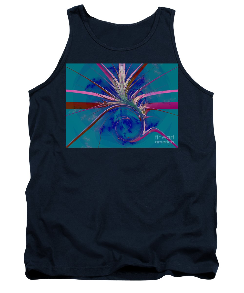 Fractal Art Tank Top featuring the digital art Pink Yucca Twist by Elizabeth McTaggart