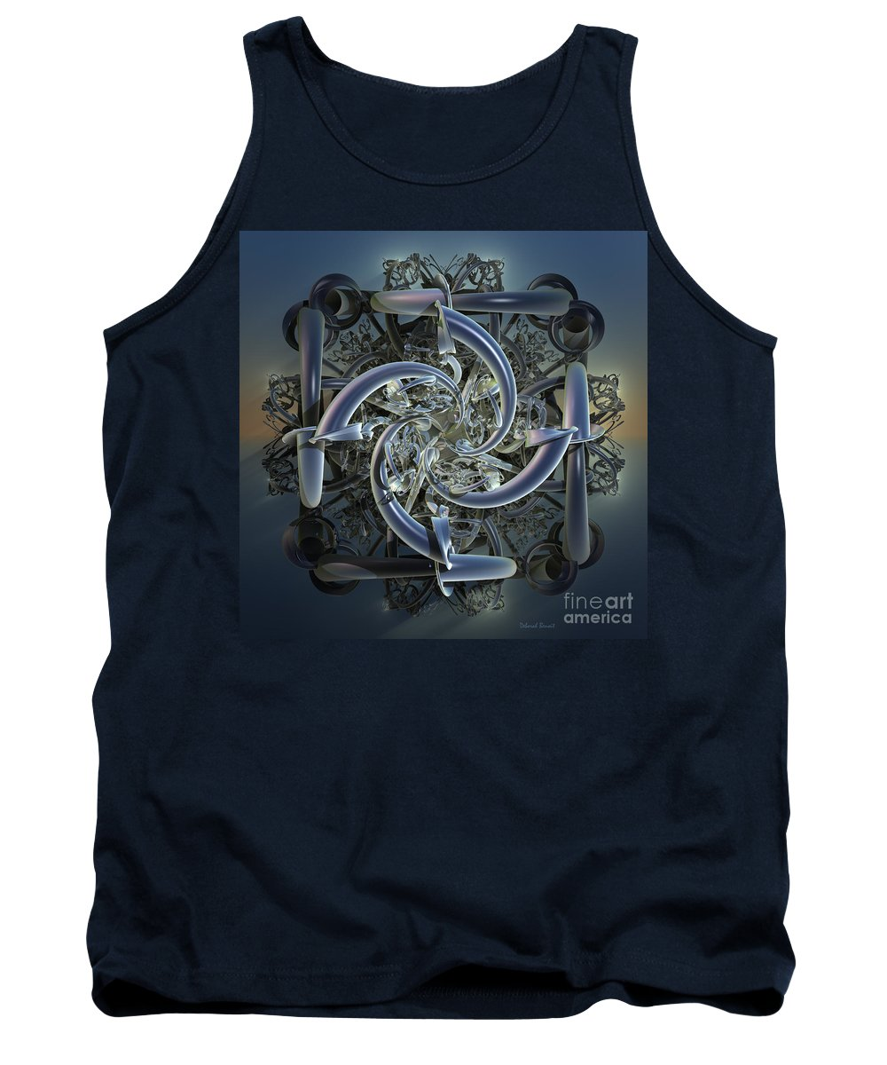 Incendia Tank Top featuring the mixed media Pipes In Blue by Deborah Benoit