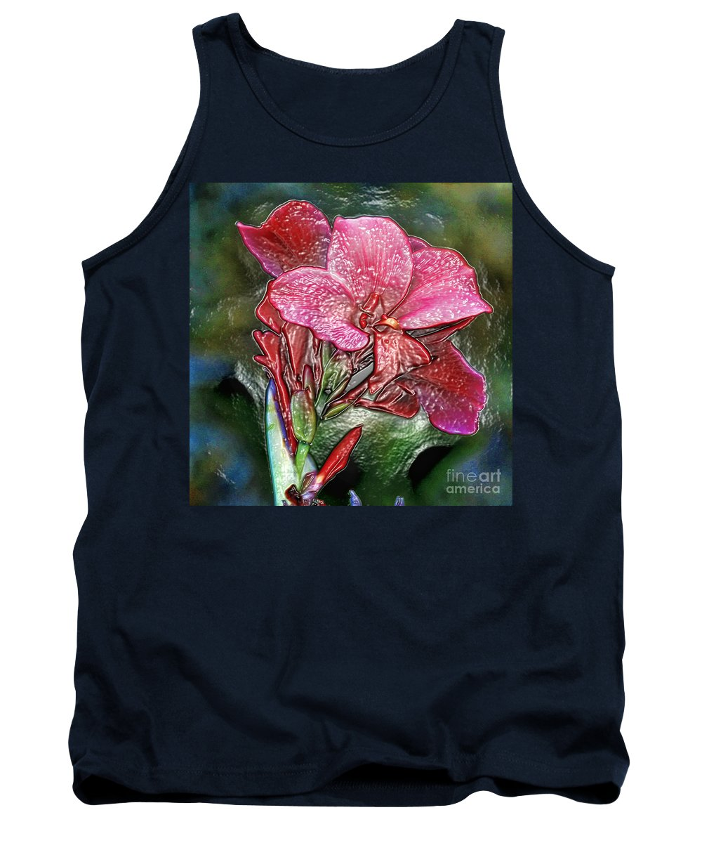 Flower Tank Top featuring the photograph Plastic Wrapped Pink Flower By Diana Sainz by Diana Raquel Sainz