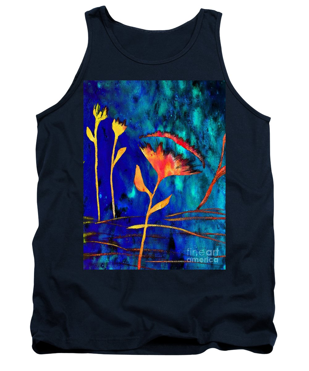 Poppy At Night Abstract Tank Top featuring the painting Poppy At Night Abstract 2 by Barbara Griffin