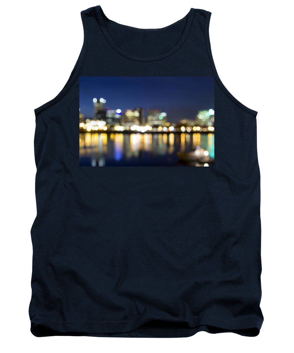 Portland Tank Top featuring the photograph Portland Downtown Out Of Focus City Lights by Jit Lim