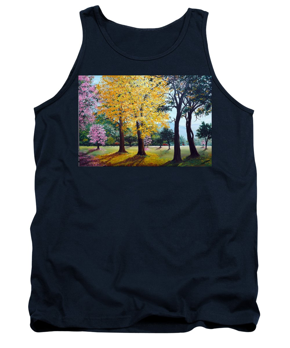 Tree Painting Landscape Painting Caribbean Painting Poui Tree Yellow Blossoms Trinidad Queens Park Savannah Port Of Spain Trinidad And Tobago Painting Savannah Tropical Painting Tank Top featuring the painting Poui Trees In The Savannah by Karin Dawn Kelshall- Best