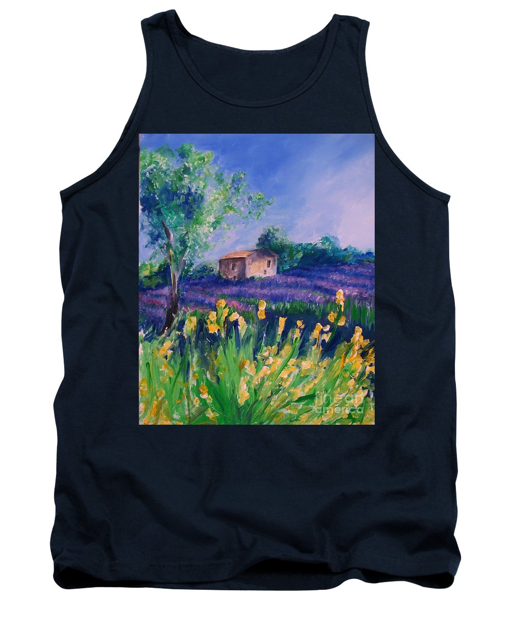 Floral Tank Top featuring the digital art Provence Yellow Flowers by Eric Schiabor