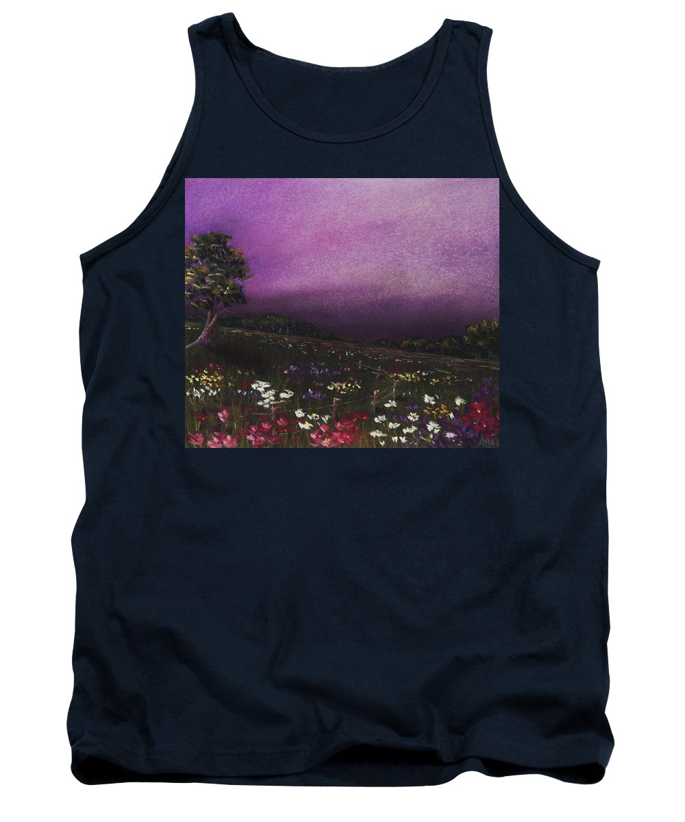 Malakhova Tank Top featuring the painting Purple Meadow by Anastasiya Malakhova