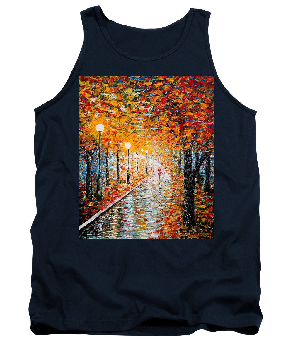 Impressionism Autumn Tank Top featuring the painting Rainy Autumn Day Palette Knife Original by Georgeta Blanaru