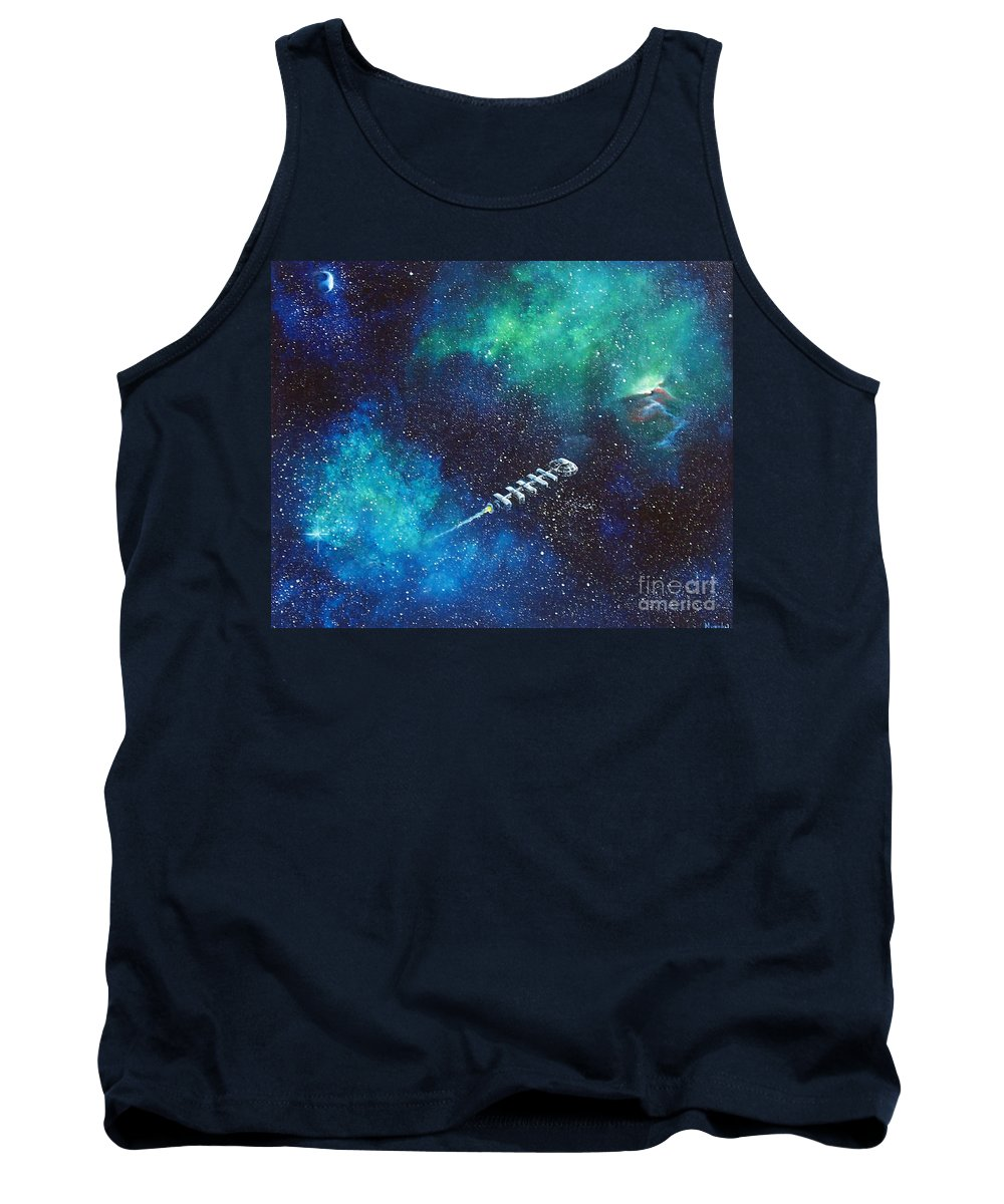 Spacescape Tank Top featuring the painting Reaching Out by Murphy Elliott