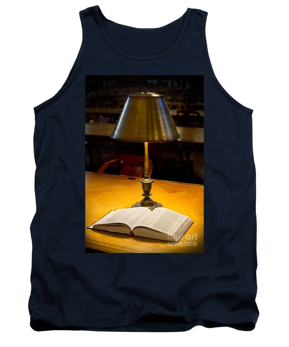 Book Tank Top featuring the photograph Reading Lamp And Book by Jerry Fornarotto