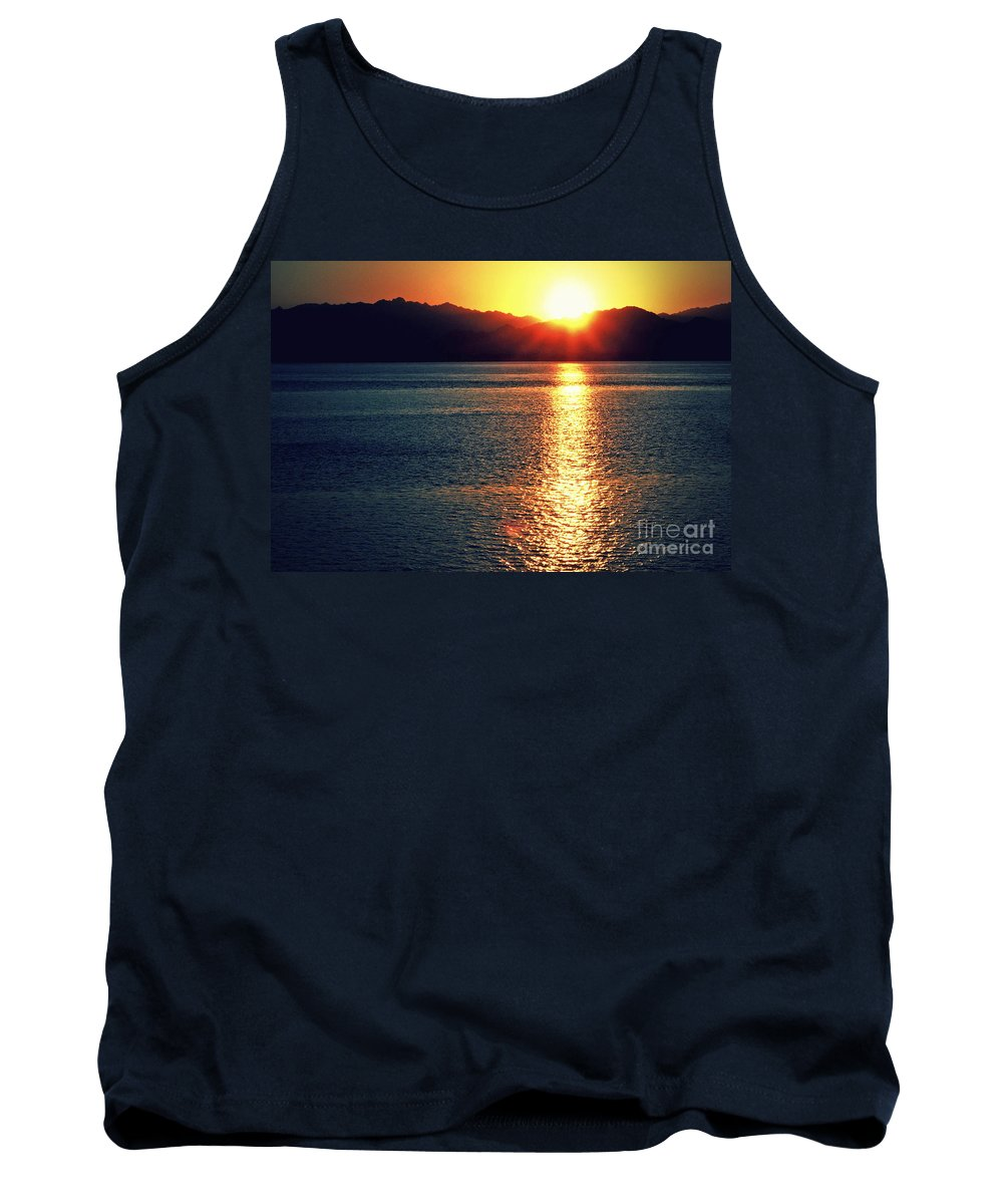 Sunset Tank Top featuring the photograph Red Sea Gold by Callan Art