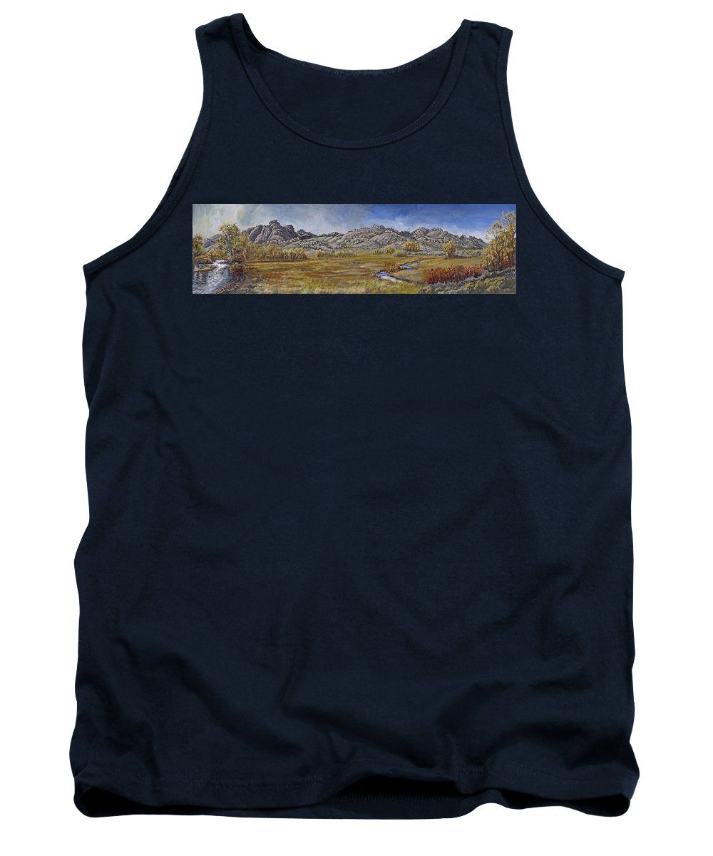 Landscape Tank Top featuring the painting River Mural Autumn View by Dawn Senior-Trask