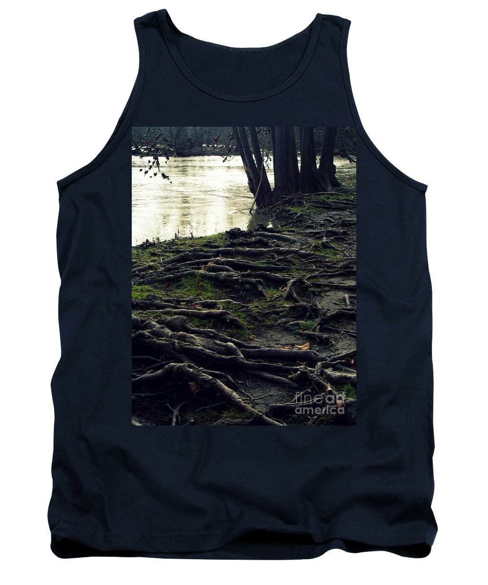 Tree Roots Growing Along River Tank Top featuring the photograph Roots On White River by Kitrina Arbuckle