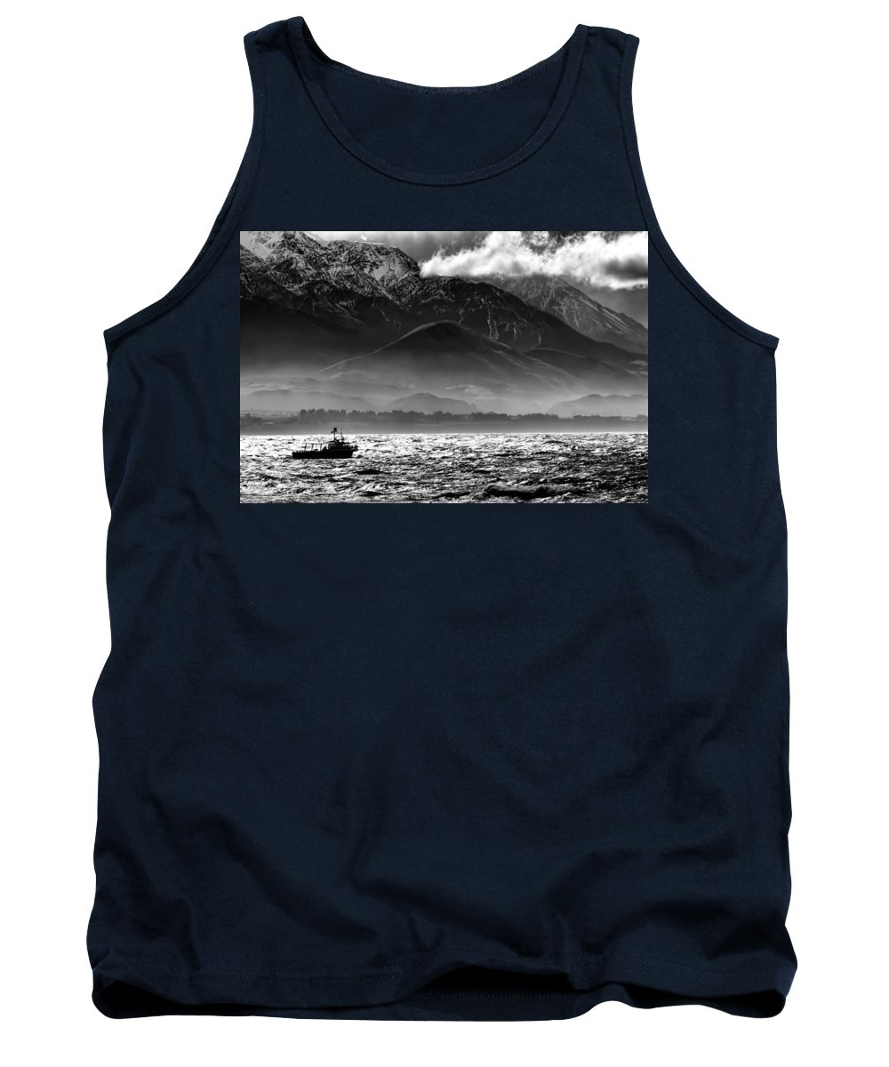 Rough Sea Tank Top featuring the photograph Rough Seas Kaikoura New Zealand In Black And White by Amanda Stadther