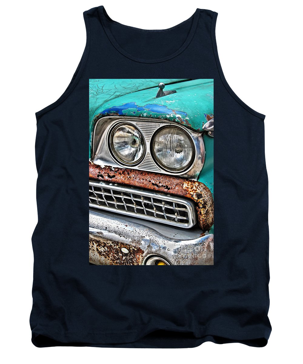 1959 Tank Top featuring the photograph Rusty 1959 Ford Station Wagon - Front Detail by Carlos Alkmin