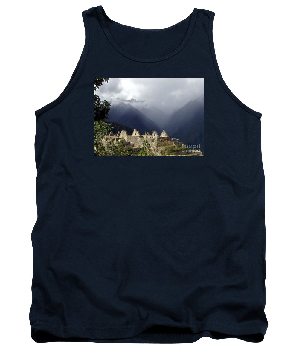 Machu Picchu Tank Top featuring the photograph Sacred Mountain Echos by Barbie Corbett-Newmin