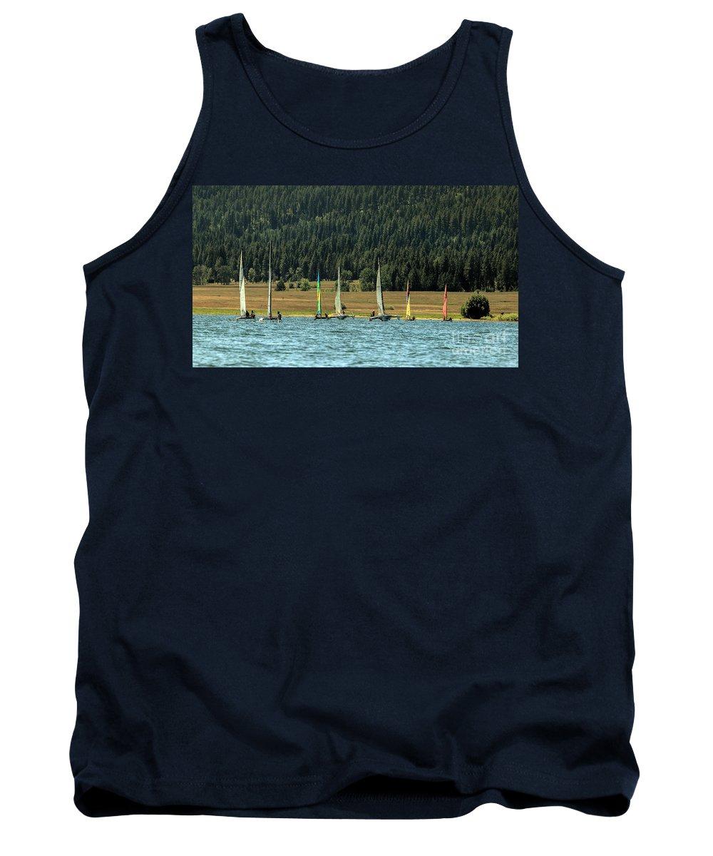 Cascade Lake Tank Top featuring the photograph Sailboat Regatta Cascade Lake by Robert Bales