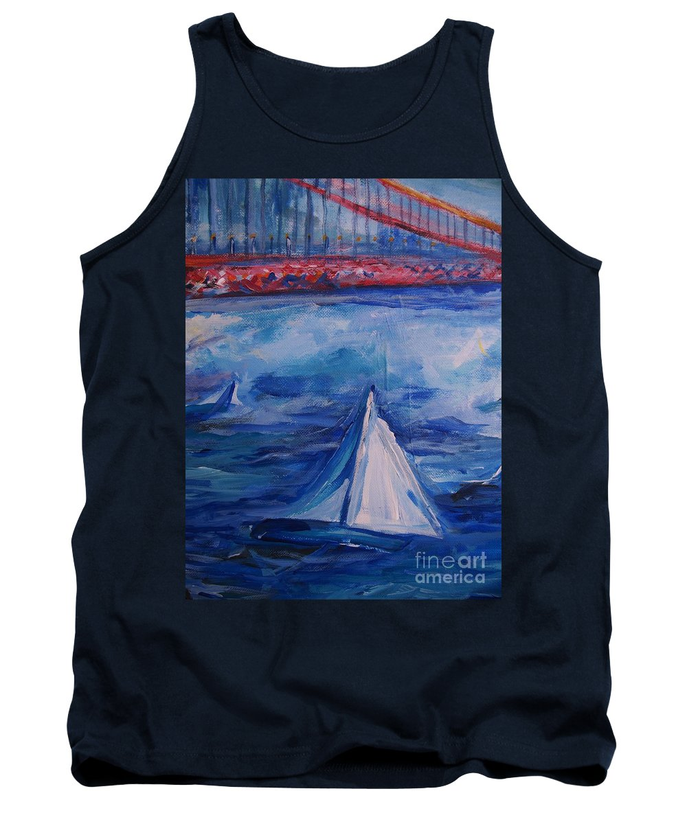 San Francisco Tank Top featuring the painting Sailing Under The Golden Gate by Eric Schiabor