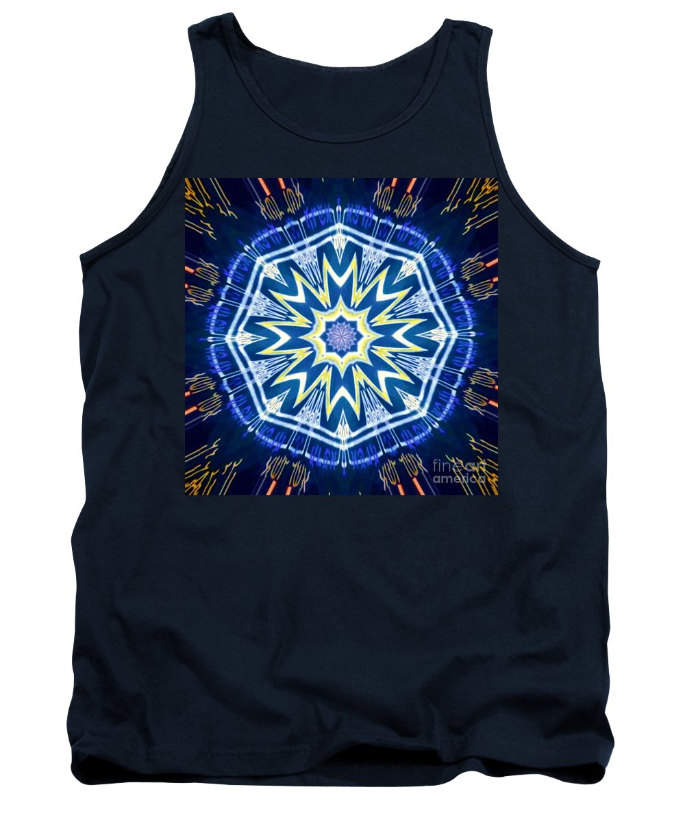 Tribal Tank Top featuring the mixed media Saints Shield by Alexander Ladd