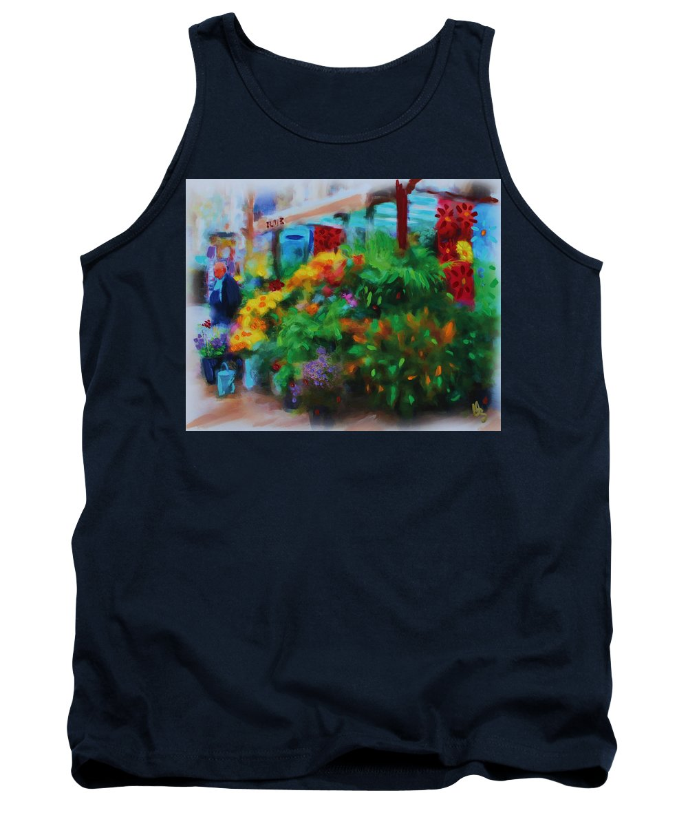 Flowers Tank Top featuring the painting Scene From La Rambla by Deborah Boyd