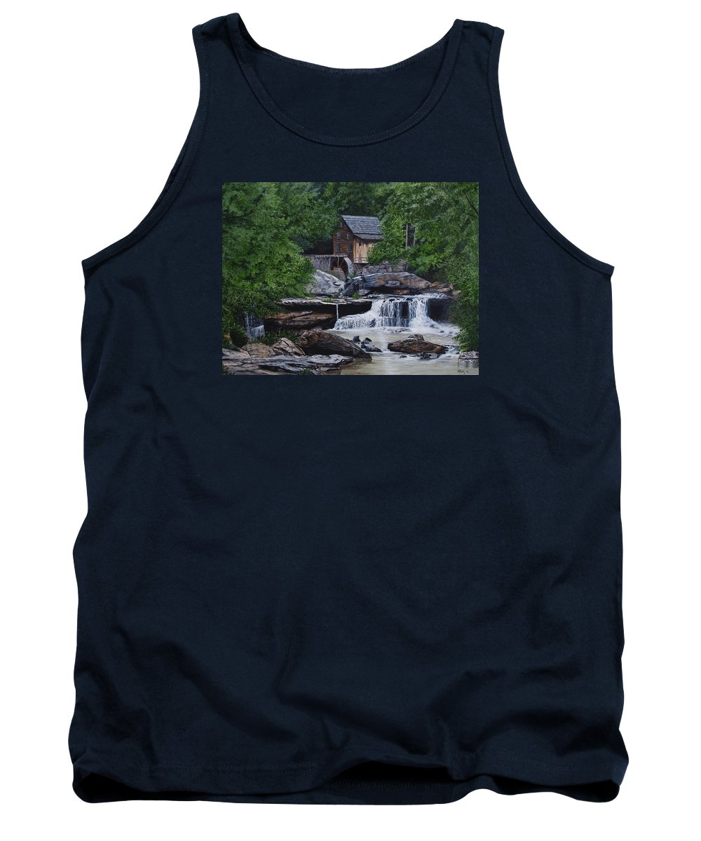 Grist Mill Tank Top featuring the painting Scenic Grist Mill by Vicky Path
