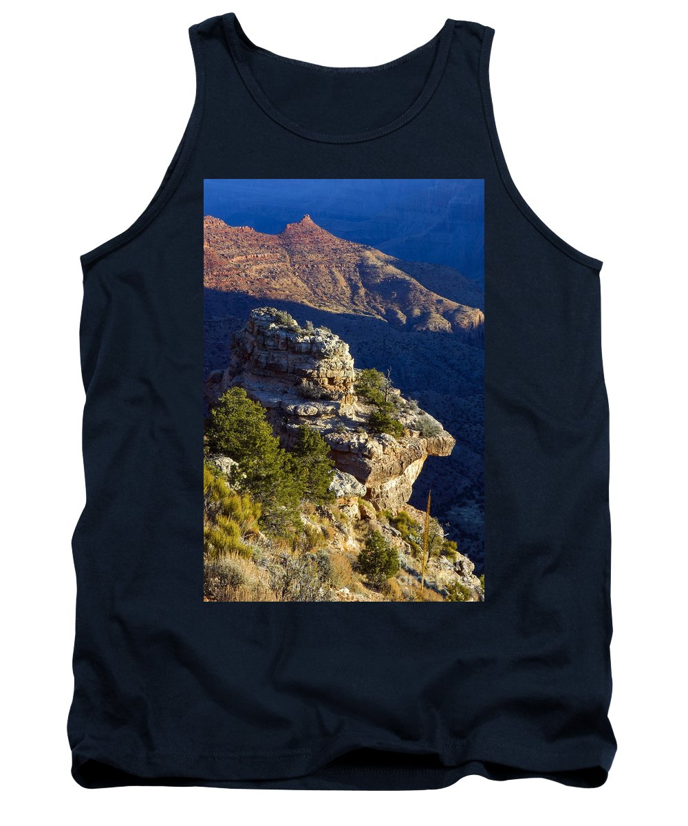 Grand Canyon National Park Arizona Parks South Rim Canyons Rock Formations Rock Formation Sunrise Sunrises Landscape Landscapes Tank Top featuring the photograph Shadows In The Canyon by Bob Phillips