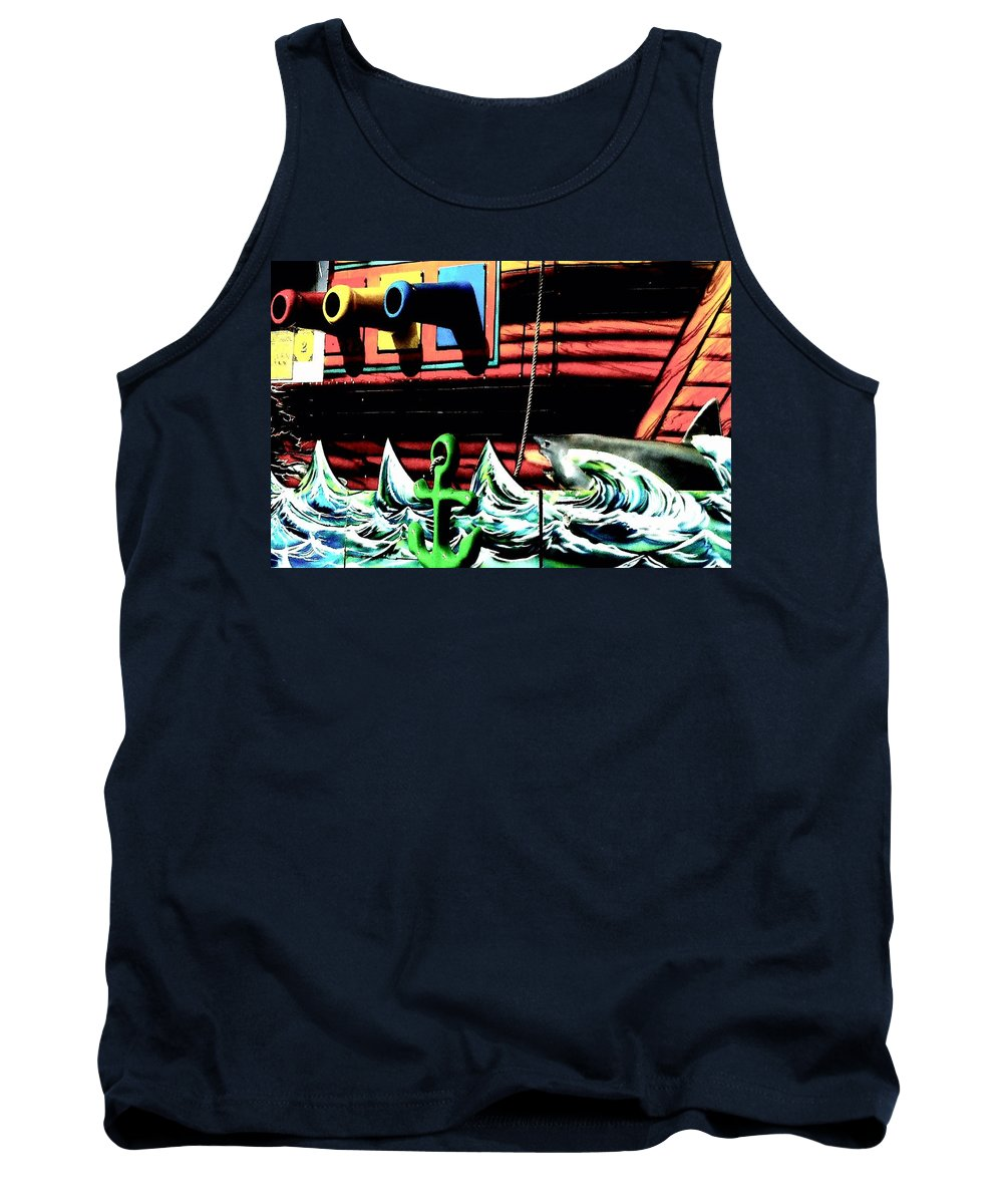 Shark Tank Top featuring the photograph Shark And Pirate Ship Pop Art Posterized Photo by Marianne Dow