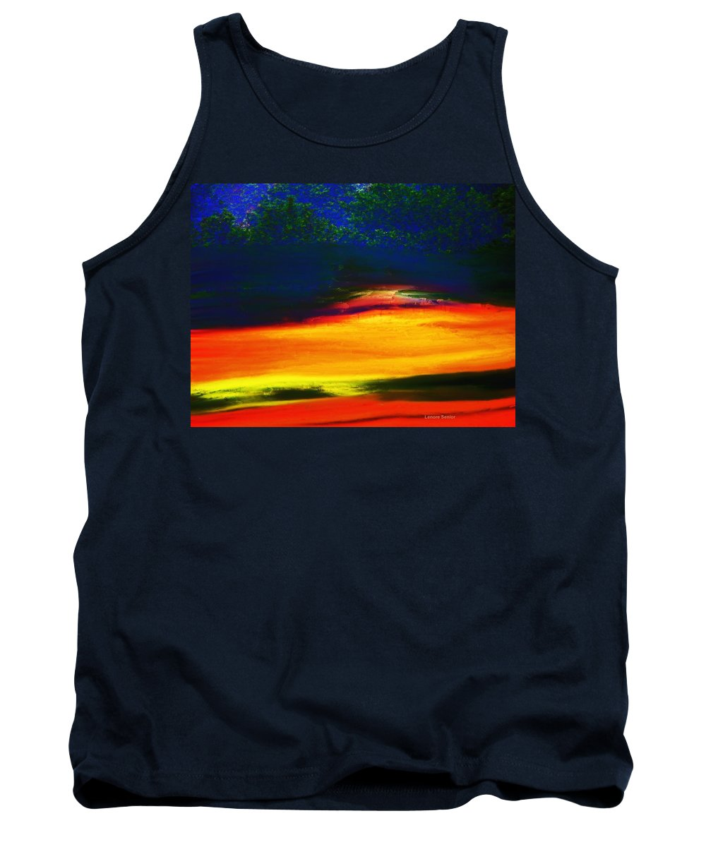 Semi-abstract Tank Top featuring the mixed media Smoke From The Distant Fire by Lenore Senior