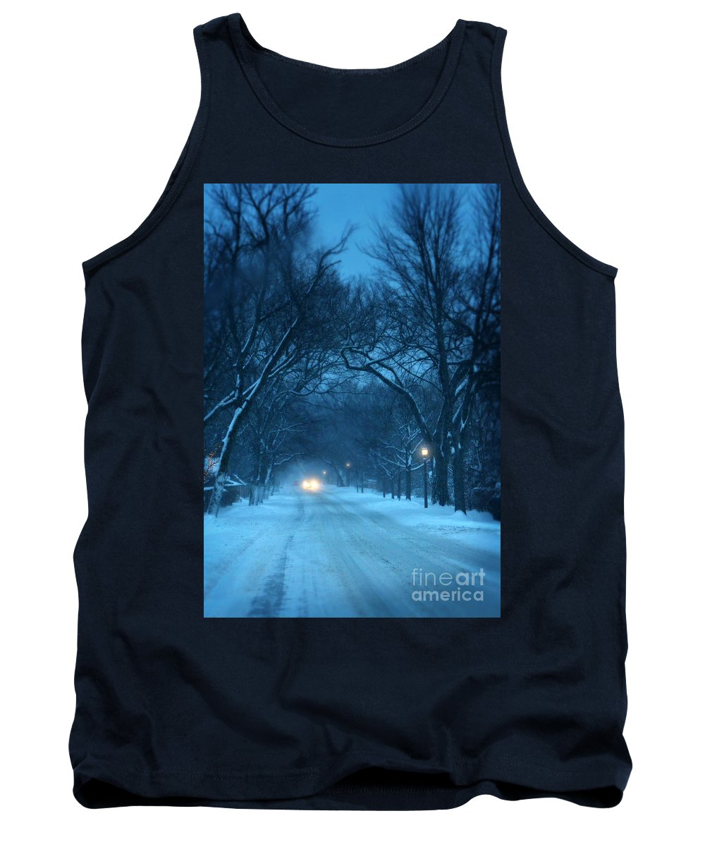 Road Tank Top featuring the photograph Snowy Road On A Winter Evening by Jill Battaglia