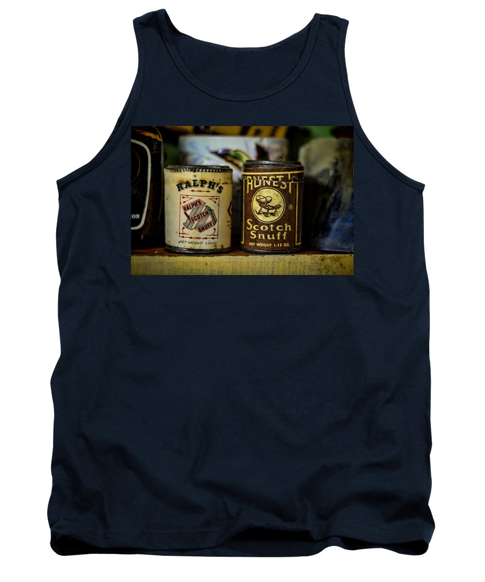 Snuff Tank Top featuring the photograph Snuff Tins by Heather Applegate