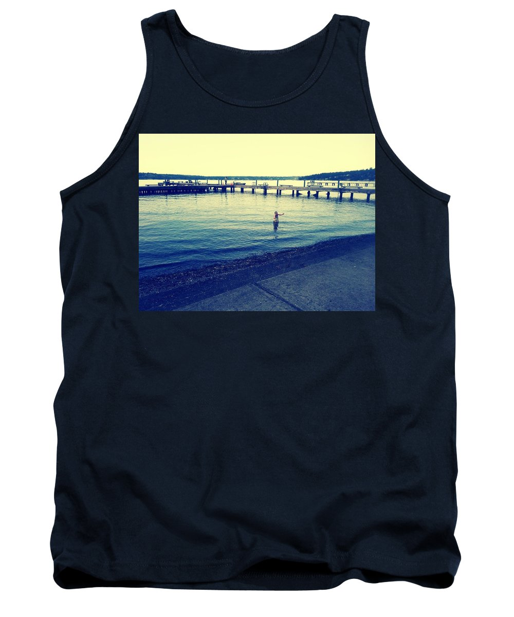 Water Tank Top featuring the photograph Solitary Swimming by Barbara Christensen