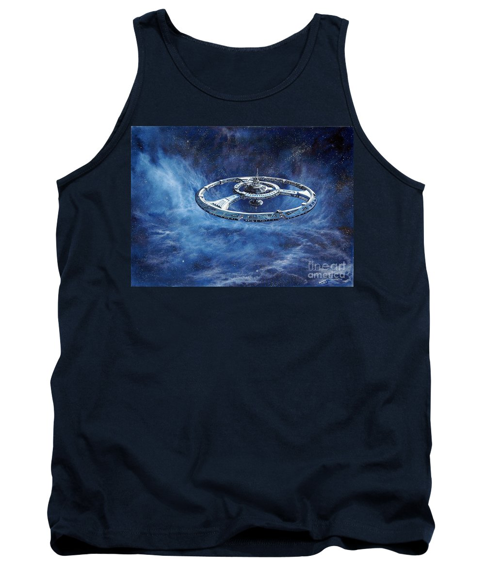 Sci-fi Tank Top featuring the painting Deep Space Eight Station Of The Future by Murphy Elliott