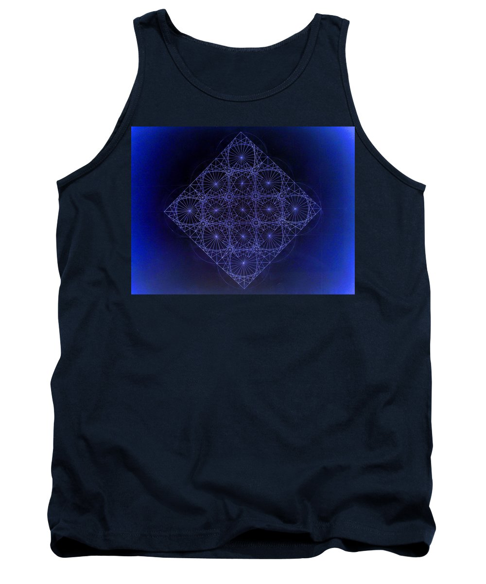 Fractal Tank Top featuring the drawing Space Time Sine Cosine And Tangent Waves by Jason Padgett