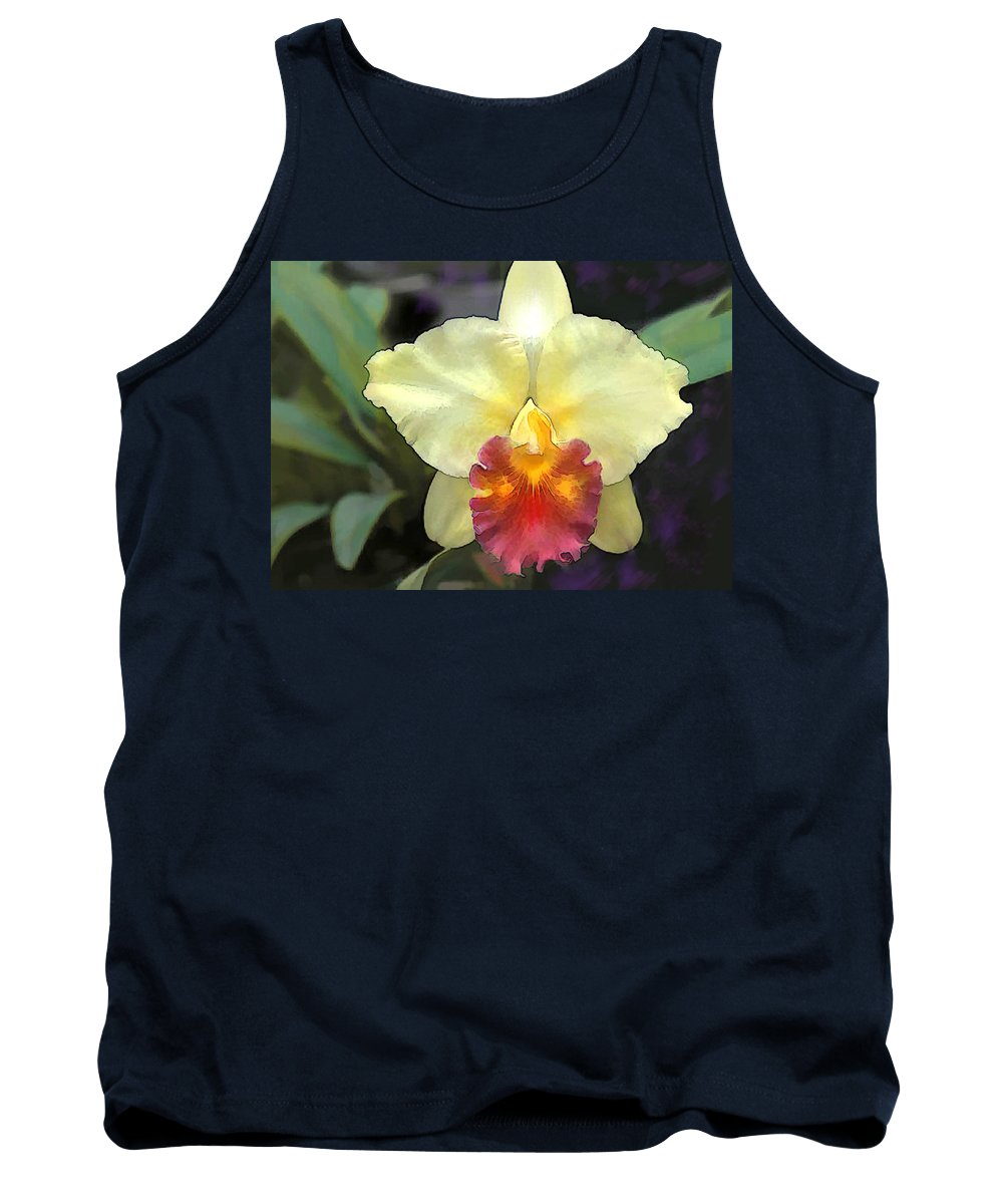 Orchid Tank Top featuring the painting Spot Of Sunshine In The Garden by Elaine Plesser