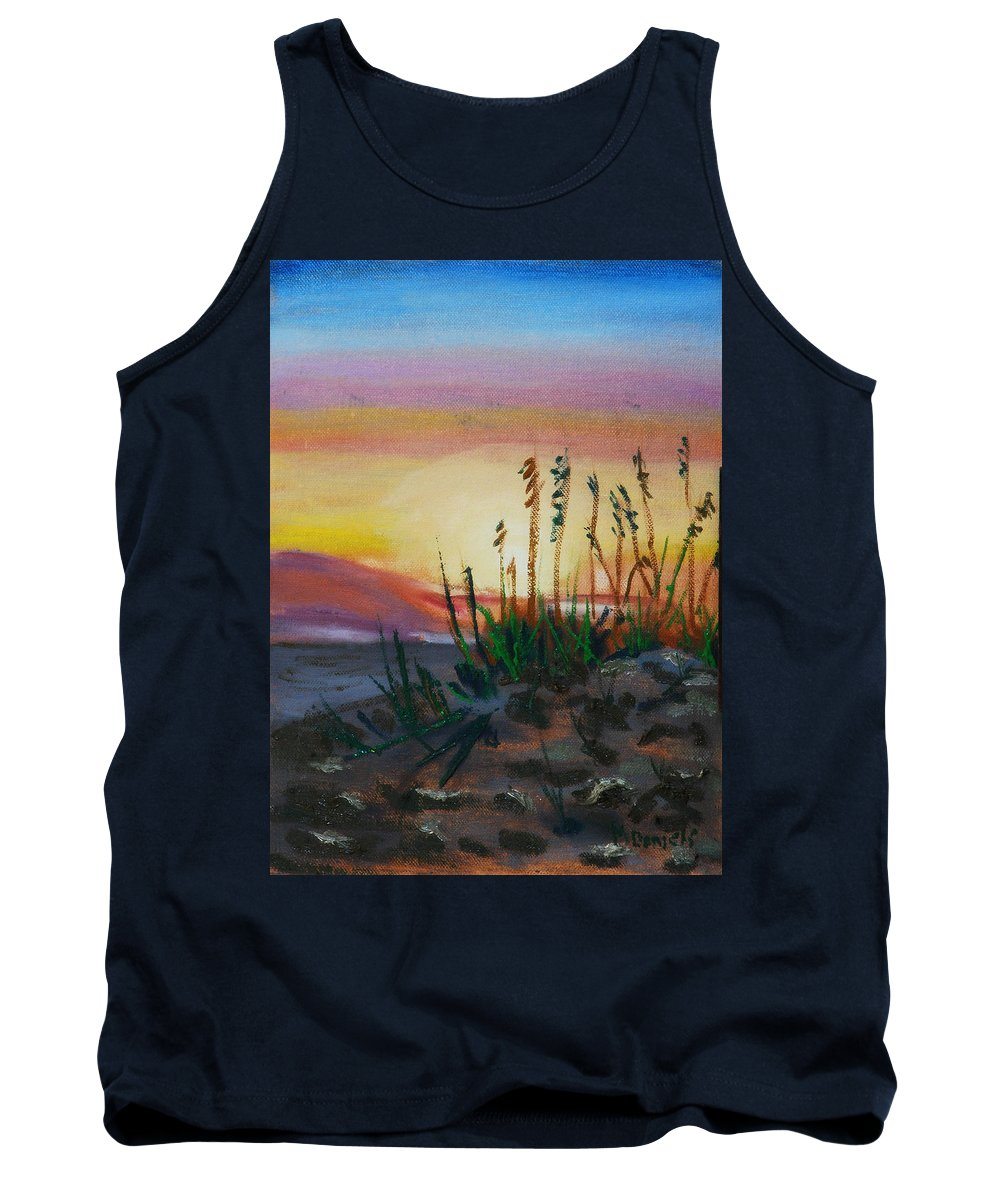 Beach Tank Top featuring the painting Beach At Sunrise by Michael Daniels